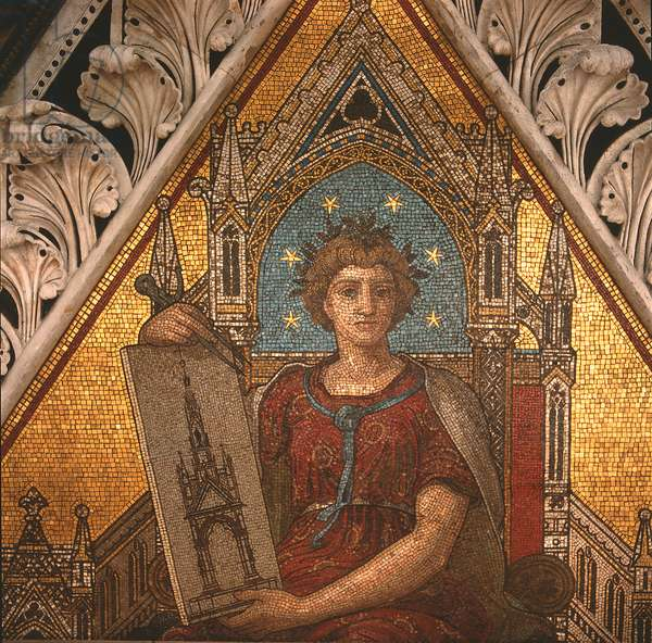 Detail of 'Architecture' from the Albert Memorial, executed by Antonio Salviati (1816-90), 1868 (mosaic)