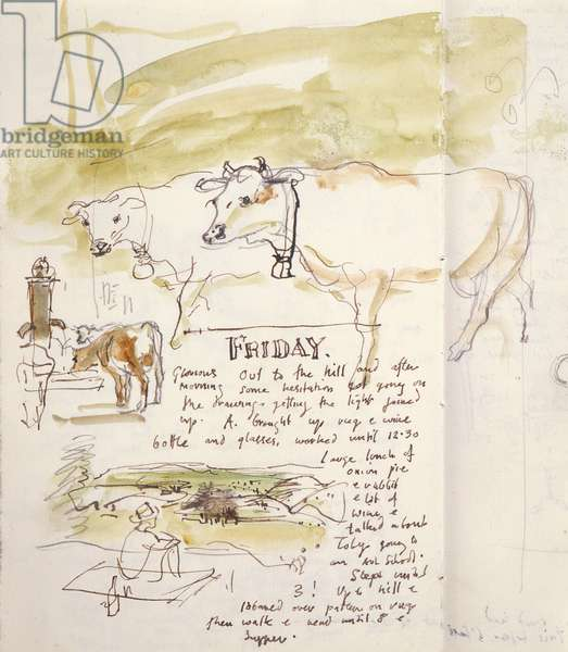 Friday, a page from the artist's sketchbook, 1996 (w/c on paper)