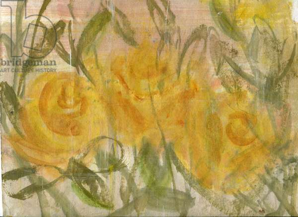 Roses gialle 1, 2020 (oil and mixed media on A4 paper)
