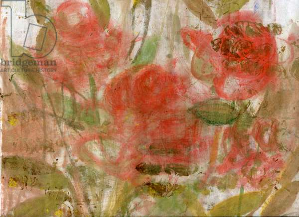 Red roses 3, 2020 (oil and mixed media on A4 paper)