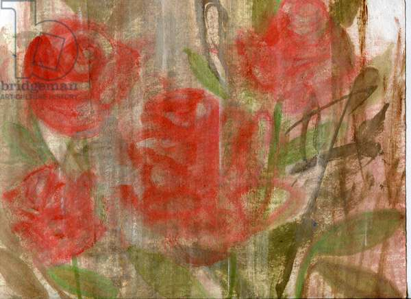 Red roses, 2020 (oil and mixed media on paper)