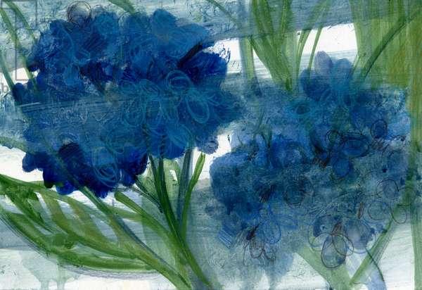 Blue Hydrangeas, 2020 (oil on A4 paper)