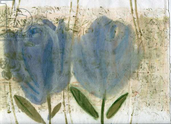 Blue tulips 2, 2020 (oil and mixed media on A4 paper)