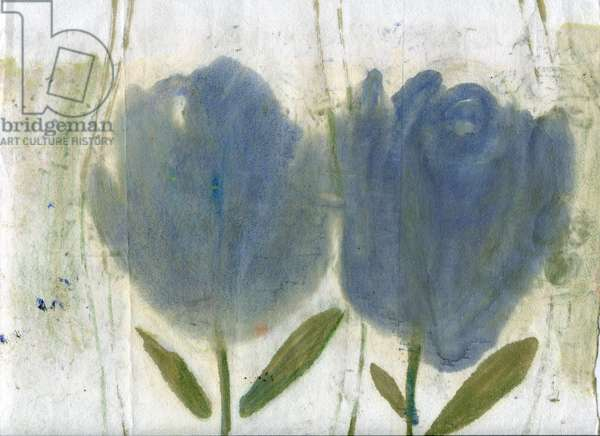Blue tulips, 2020 (oil and mixed media on A4 paper)