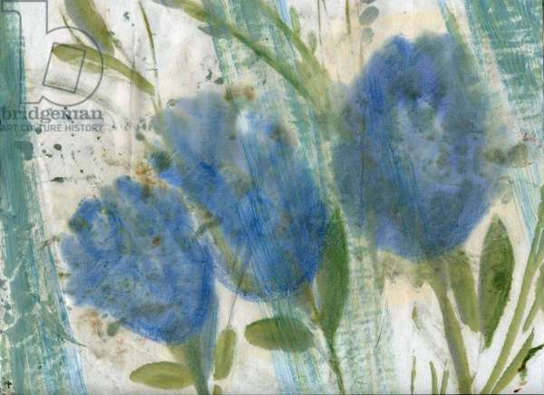 Blue flowers, 2020 (mixed media on A4 paper)