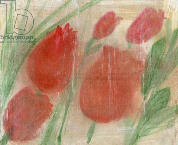 Red tulips, 2020 (oil and mixed media on paper)