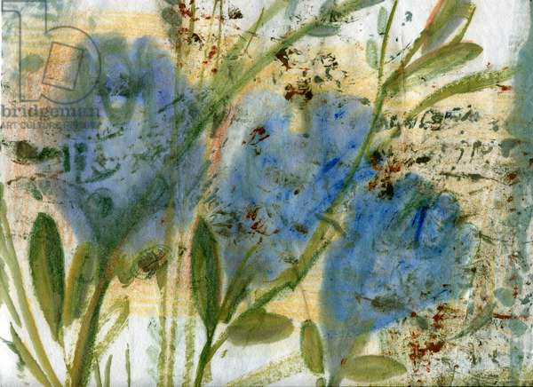 Blue flowers 2, 2020 (mixed media on A4 paper)