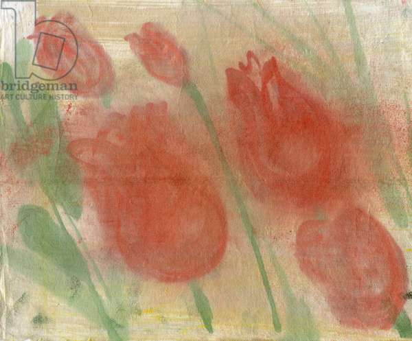 Red tulips 1, 2020 (oil and mixed media on paper)