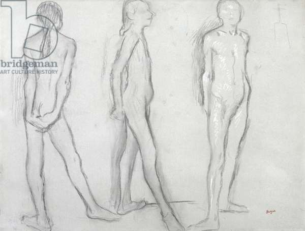 Three Studies of a Nude Dancer, c.1879 (charcoal with white chalk on paper)