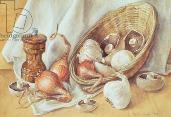 Mushrooms, Garlic, Shallots, 1992 (w/c and gouache on paper)