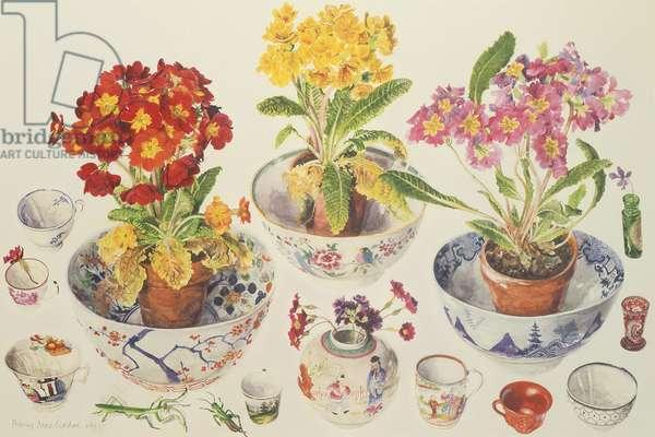 Still Life, Three Pots of Flowers (W/C on paper)