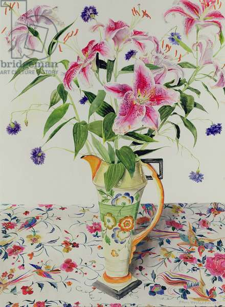 Lilies and Cornflowers, 1985 (w/c on paper)