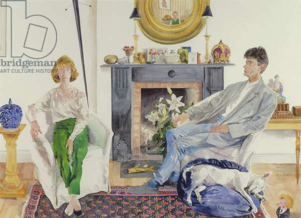 Postins and Tilly: Interior with Bull-Terrier, Mrs Thatcher and Buddha, 1988 (w/c on paper)