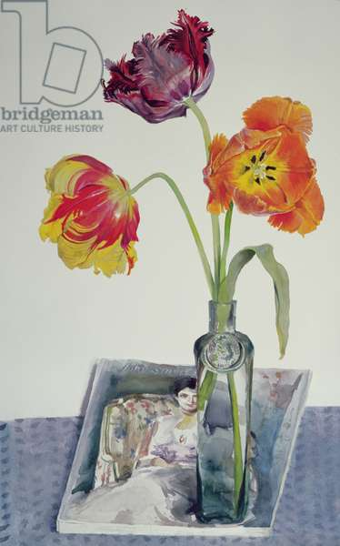 Still Life, Three Tulips in Vase (W/C on paper)