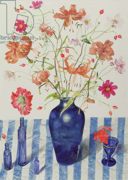 Still Life with Assortment of Flowers (W/C on paper)