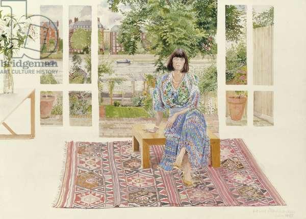 Linda Fussell in Deodar Road, Putney, 1988 (w/c on paper)