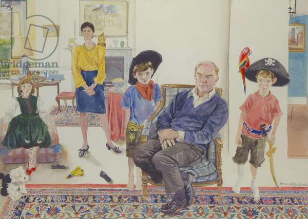 Dalton Family: Interior with Cowboy and Pirate, 1991 (w/c on paper)