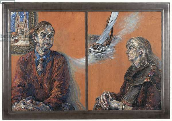 The Earl and Countess of Sandwich, diptych, 1999 (oil on board)