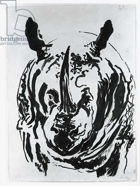 Rhino in Ipswich Museum, 1963 (ink on paper)