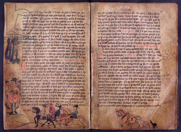 Two illustrated pages from a copy of the original 13th century 'Jonsbok' law collection (vellum)