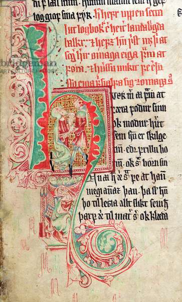 Historiated initial 'H', from 'Skarosbok' ('The Book of Skard') c.1350 (vellum)