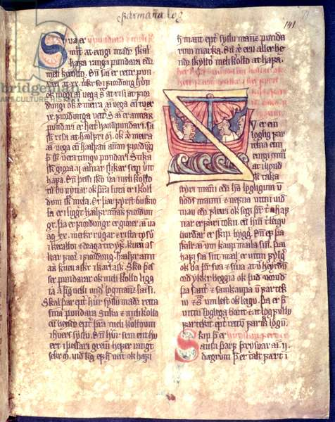 Historiated initial from the beginning of a chapter on seafaring and trade, copy of an original 14th century law collection 'Jonsbok' (vellum)