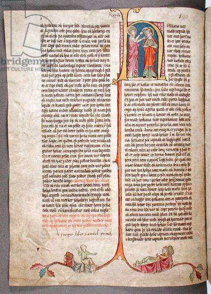 Historiated initial 'H' at the beginning of the Book of Samuel, from 'Stjorn' ('Governance') (vellum)
