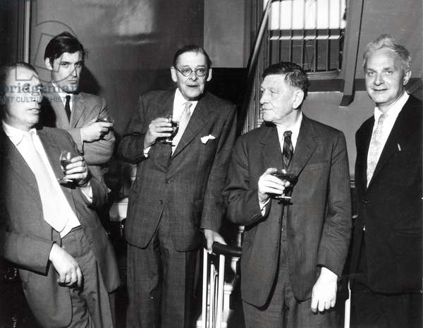 Louis MacNeice, Ted Hughes, T.S. Eliot, W.H. Auden, Stephen Spender, 1960 (photo)