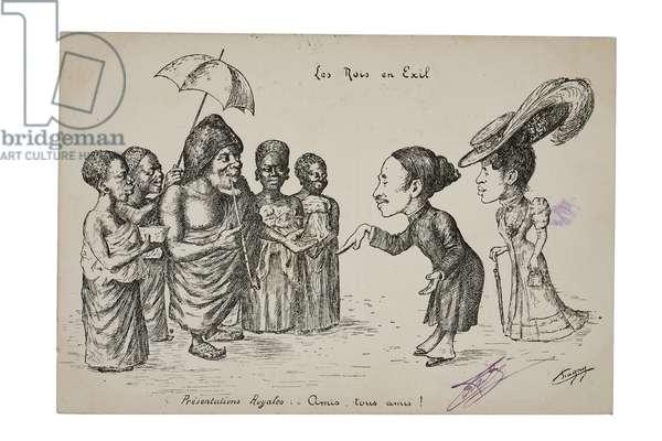 Les Rois en Exil. Presentations Royales: 'Amis, tous amis!', c.1906 (litho)