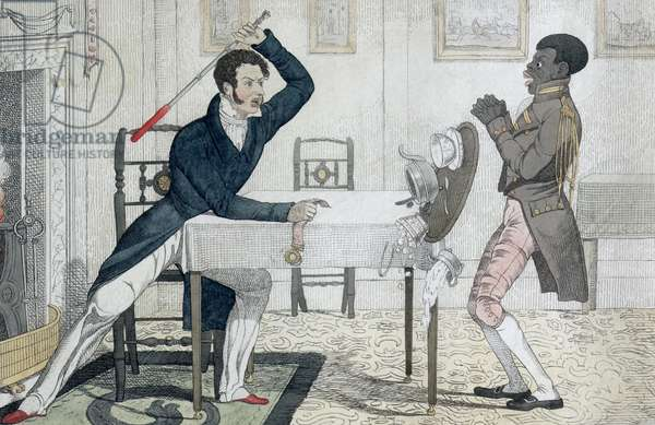 """""""Strike While the Iron's Hot, or The consequence of not answering a Bell"""", etched and published by the artist, 1822 (etching with publisher's colour)"""