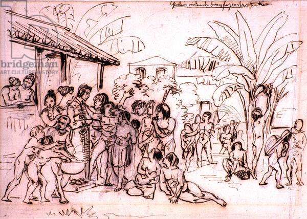 Indians visiting an estate, Brazil, c.1825 (pen and brown ink over pencil)
