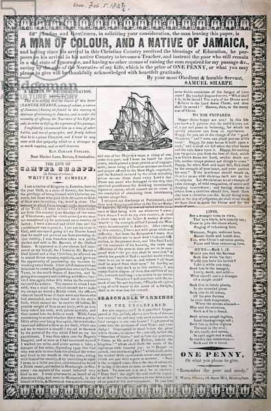 A Man of Colour, and a Native of Jamaica, February 1843 (letterpress broadside with wood engraved vignette)