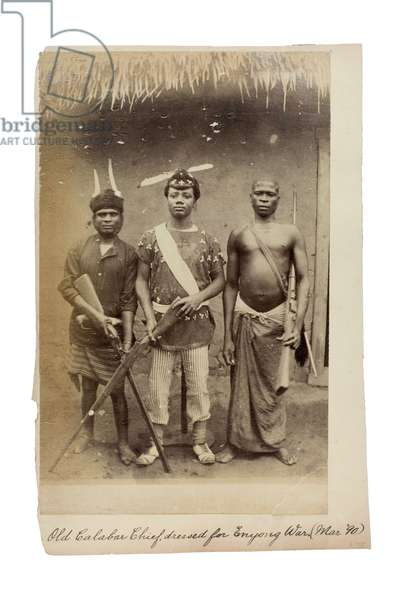 Old Calabar Chief, dressed for Enyong War, March 1890 (albumen print)