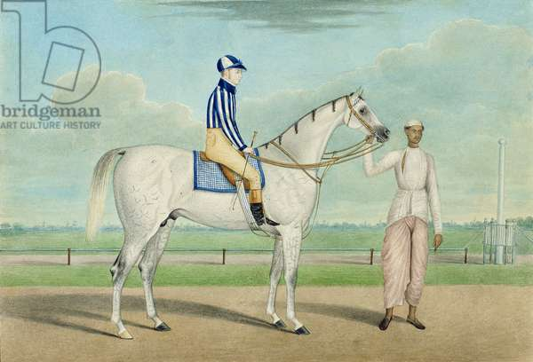 Racehorse with jockey up and groom, Calcutta (w/c on paper)