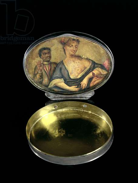 A snuff box, with inner picture of a mistress and her black servant, London, c.1740 (silver)