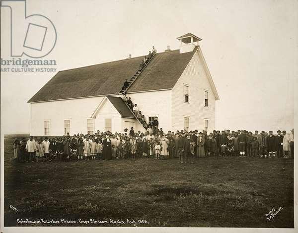 Schoolhouse at Kotzebue Mission, Cape Blossom, Alaska, August 1906 (gelatin silver print)