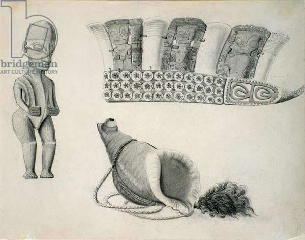 Marquesas Islands artifacts, c.1844 (pencil on paper)