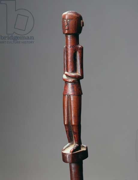 Staff depicting a male figure, c.1900 (wood)