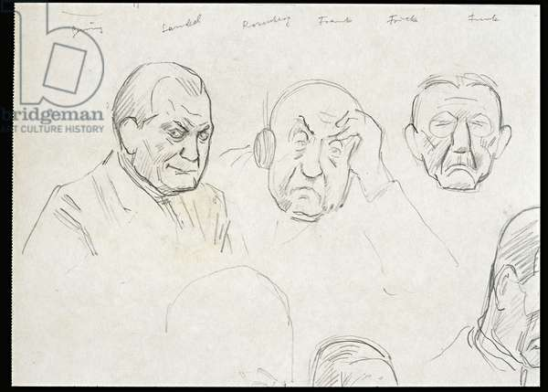 Page from the 'Nuremberg' album, 1946 (pencil on paper)