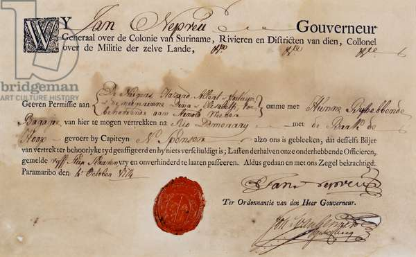 Slave Passport for Suriname, 1774 (letterpress, pen and ink and wax on paper)