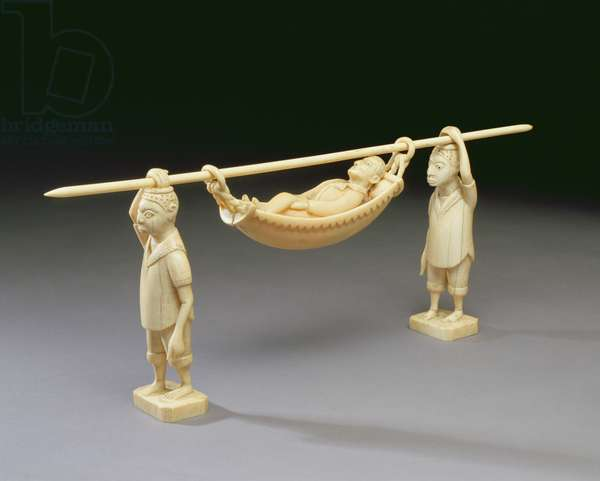 Figures of two Arican men carrying a European man, Congo (ivory)