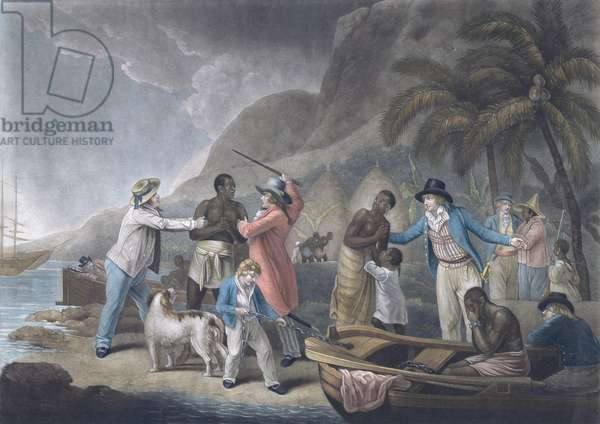 Slave Trade, engraved by John Raphael Smith, pub. by S. Morgan, London, 1814 (mezzotint with later colouring) (pair of 120643)