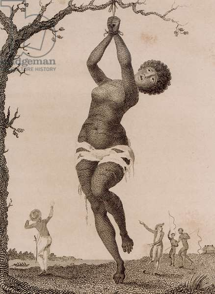 Flagellation of a Female Samboe Slave, engraved by William Blake (1757-1827), published 1793 (engraving)