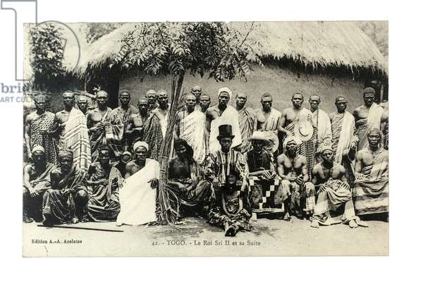 King Sri II and his suite, Togo, c.1920 (litho)