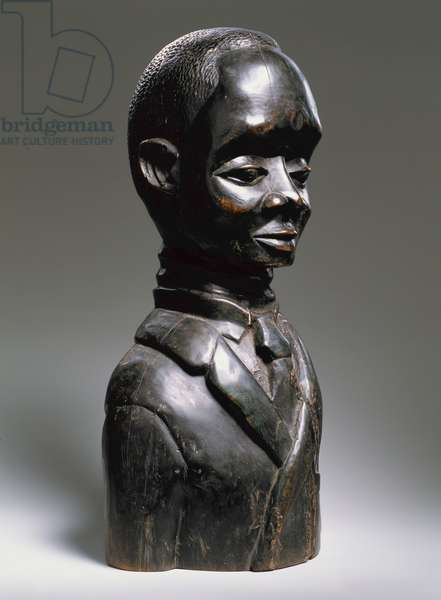 Portrait bust of a man wearing a jacket and tie, West Africa, early 20th century (wood)