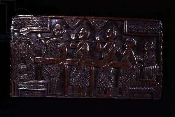 Benin chair seat, Omada carvers, Nigeria, c.1874 (wood)