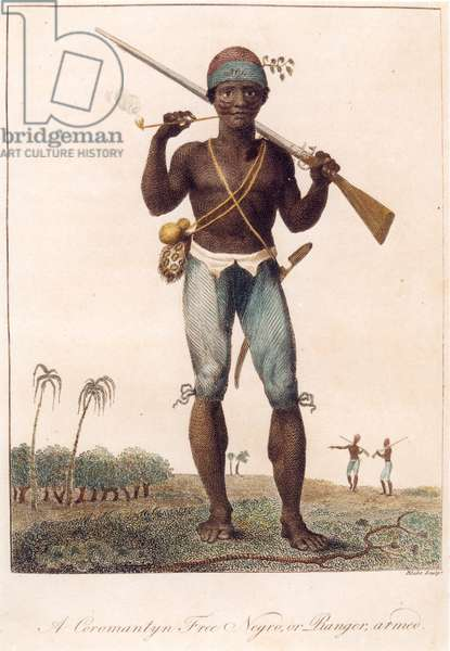 A Coromantyn Free Negro, or Ranger, Armed, engraved by William Blake (1757-1827), published 1806 (etching, engraving and aquatint)