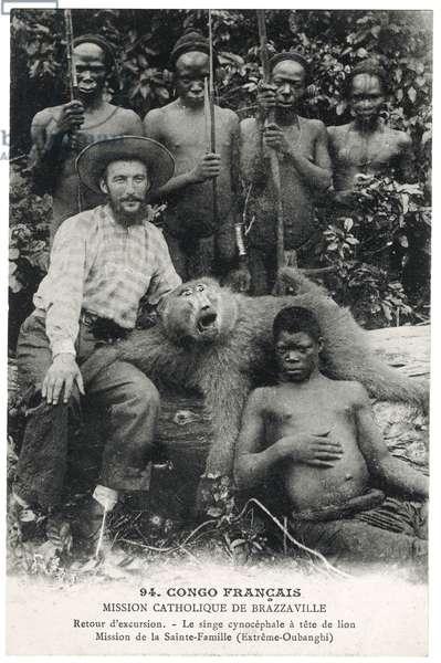Le singe cynocéphale à tête de lion, c.1910 (litho)