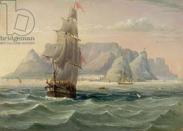 Table Mountain, Cape Town, from the Sea, 1820 (oil on card)