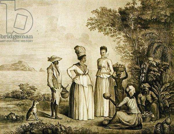 Fruit market of St. Vincent, 1788 (stipple engraving)